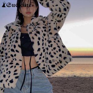 Sucheynut Streetwear Gotik Leopar Baskı Y2K Kadınlar için Kırpılmış Ceket Modu Longslive Casual 2021 Kış Harajuku Ceket Kadın