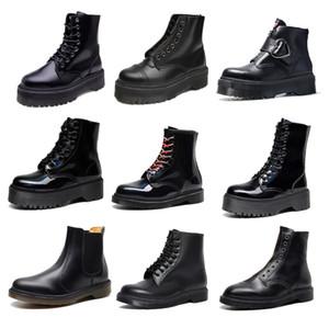 Siyah Kısa Kış Kadın Ayak Bileği Çizmeler Yuvarlak Toe Gerçek Deri Dantel-up Fermuar Platformu Tasarımcısı Martin Patik Bottines Femmes
