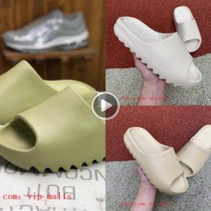 450 Köpük Runner Kanye West Tıkanıklık Sandal Üçlü Siyah Slide Moda Terlik Kadınlar Erkek Tainers Plaj Kayma-on Sanda 36-45 CO02 Düz ayakkabılar Ayakkabı