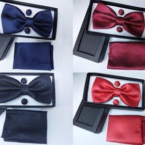 SHENNAIWEI Nuevos hombres de la vendimia Jacquard arco tie pajarita del pañuelo de las mancuernas Caja de regalo rojo Azul Amarillo