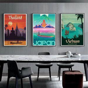 Thailand Japan Israel Asia World City Tour Travel Scenery 5D DIY Diamond Painting Vintage Landscape Poster Diamond Embroidery Cross Stitch