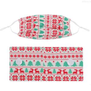 마스크 2pcs / lot 크리스마스 마스크 홀더 크리스마스 머리띠 버튼 패션 얼굴 인쇄 여성 스포츠 요가 탄성 하이
