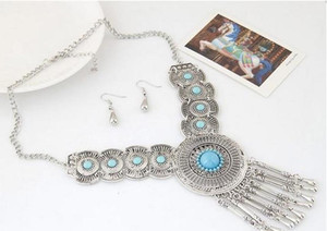 Wedding Bridal Circle Part Pendant Necklace Earrings Jewelry Sets For sqcRDe dh_seller2010
