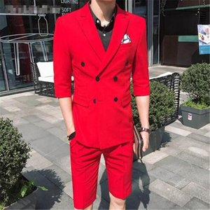TPSAADE Fashion Men's 2 Pieces Summer Double Breasted White Red  Grey Blue Slim Fit Short Trousers Wedding Party Dress Groom