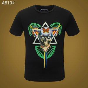 Casual para hombre verano cristal sólido básica Camiseta del cráneo Camisetas letra de la impresión del punk tops T hombre de la manera ropa corta Slee