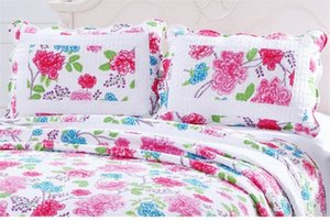 Wholesale-Cotton Summer Blanket Quilted Counterpane Floral Patchwork Quilt Bed Sheet Set by 2PC Pillowcase Adult Bed Quilt Cover Bedsp q9ls#