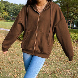 Brown Y2K Aesthetic Hoodies Women Vintage Zip Up Sweatshirt Winter Jacket Clothes Pockets Long Sleeve Hooded Pullovers