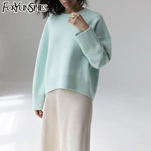 FORYUNSHES sweaters for women fashion Loose Casual Knitted Pullovers Solid Long Sleeve Autumn winter retro jumper woman sweaters 201017
