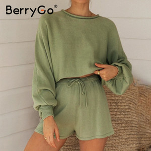 BerryGo Casual knitted summer women suit Bubble long sleeve suit with shorts for women O neck loose sexy sweater two piece set 201007