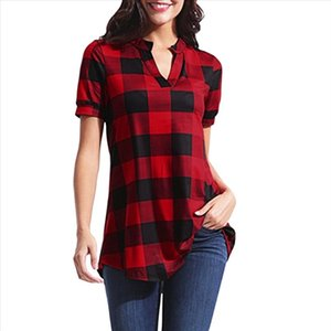 2021 Womens Tops Blouse V Neck Vintage Plaid Short Sleeve Shirt Women Clothes Streetwear Tunic Ladies Top Fashion Clothing Mujer