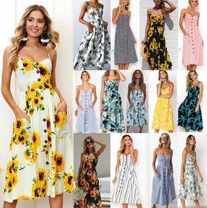 2020 Retro sexy floral bohemian dress casual women's beach halter suspender skirt halter polka dot striped women's button dress
