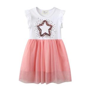 Baby Girl Designers Clothes Summer Princess Girls Dress Star Beading Cotton Tutu Party Children Costume Fashion Birthday Girls Dresses
