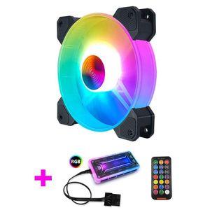 1 PC 12cm Desktop-PC Computer-Gehäuse-Lüfter mit LED-Leuchten Farbwechsel RGB Chassis Fan Controller Fernbedienung