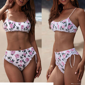 Women Sexy Swimwear Bikinis Set 2020 New Wrinkle Floral Print Lace-up Summer Beach Two-Piece Swimsuits Swimming Bathing Suit Swim Beachwear