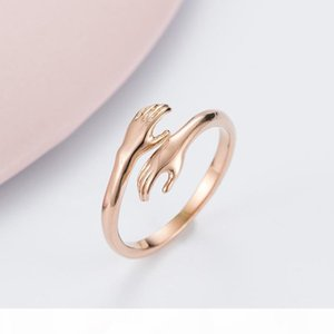 Korean Version Of Romantic Love Hug Rose Gold Titanium Steel Ring Hands Embrace Valentine's Day Gift Trend Jewelry Wholesale Free Posta