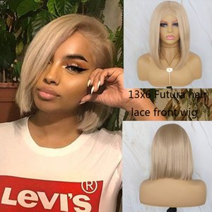 Beautiful Diary Blonde Wig Short Bob For Women Gluesless Synthetic Lace Front Futura Hair 13X6 Lace Frontal