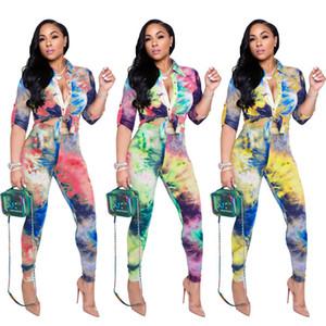Tie Dye Womens Due pezzi Set Abbigliamento casual manica lunga con scollo a risvolto e pantaloni a matita Fashion Elegante Donna 2PCS Abbigliamento abbigliamento