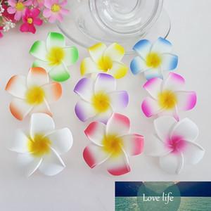 100 unids 9cm Hawaian 5Colors Real Touch Artificial PE Plumeria Flower Heads DIY Fiesta de bodas Decoración de la decoración