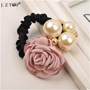 Moda Büyük İmitasyon inci Gül Çiçek Saçbağı halat Camellia Rhioestone Hairband Headdress lastik bant bijuteri cheveux