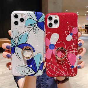 Luxury Bling Glitter Stars Flower Phone Case For iPhone 11 Pro Max XR XS Max 7 8 Plus X Finger Ring Soft IMD Back Cover