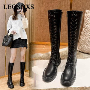 Women Boots Ladies Black Knee High Boots Woman Leather Shoes Female Casual Brand Fashion Bottom Botas Motorcycle Shoes New