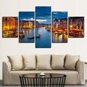 Canvas Pictures Wall Art Prints Poster Framework 5 Pieces Venice Water City Boat Light Landscape Painting Home Decor Living Room