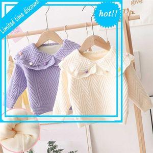 2020 Warm Winter Girls'sweaters Kids' babies Children's sweaters Flowers Fat Bal Revers collar Trui Tops S11686