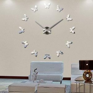 New Wall Clock Reloj De Pared Clocks Modern Design Butterfly Acrylic Mirror 3d Quartz Watch Home Decor Stickers Living Room Clocks