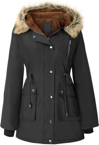 Womens Hooded Fleece Line Coats Parkas Faux Fur Jackets with Pockets
