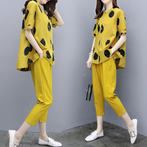 Yellow two pieces summer set summer womens outfits pant suits ladies plus size polka dot tops linen tracksuit clothing 201007