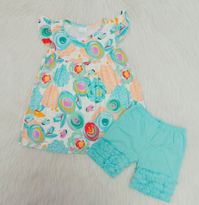 Fashion boutique baby clothes blue round flower flying sleeve dress children's clothing new designer dress personality blue shorts suit
