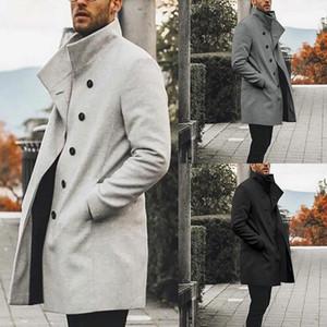 High Quality Trench Coat Men Winter Classic Slim Long Coat Men Autumn Mens Trench Solid Long Windbreaker Vintage Blends Coats