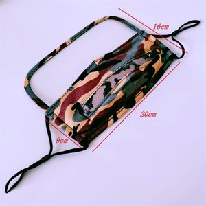 Camouflage Respirators Drinking Holes Fashion Face Shield Cover Mask Zipper Reusable Washable Custom Mascherine Adult Kid Variable 9