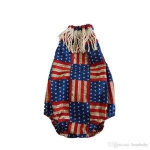 Лето младенца Звезда Ромпер American Independence Флаг национальный праздник США 4 июля Детские кисточкой нашивки Star Print Треугольник Комбинезон