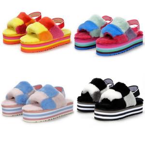 Women Kids Furry Slippers Sandale Boots Fashion Luxury Designer Platform Wedges Heels Sandals Slipper Flip Flops Sandal Fluff Yeah Slides
