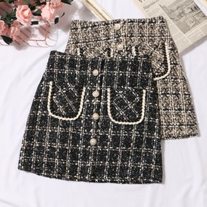 Autumn Winter new korean fashion women's high waist tweed woolen thickening short skirt with safety shorts inside plus size SMLXLXXL