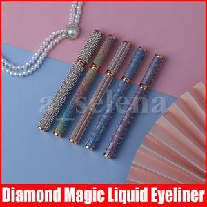 Diamond Magic Self-adhesive Eye Makeup Liquid Eyeliner Waterproof Long Lasting Star Cool Black Sticky Eye Liner for False Eyelashes