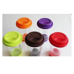 350 мл красочные термостойкие двойные стеклянные стеклянные чашки с SIL Cover и нижним чистым кофе Чай из чая чая D Bbyrih