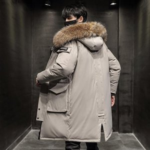 -30 Degree Men Winter White Duck Down Jacket Keep Warm Long Thicken Coat Fashion Hooded Fur Collar Windbreaker Down Parka Couple