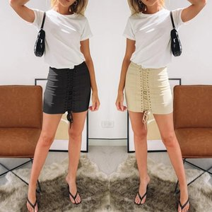 Newest Office Lady Skirt Autumn Lace up Leather Suede Pencil Skirt Vintage Pocket Preppy Winter High Waist Casual Short Skirts