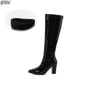 New winter style women shoes The knee high boots glossy Fashion boots women sexy European style Female snow