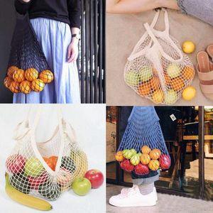 Shopping Bags Mesh Net String Bag Reusable Tote Vegetable Fruit Storage Handbag Foldable Home Handbags Grocery Tote Knitting Bag BWE1273