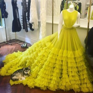 Gorgeous Puffy Ruffles Tulle Sexy Open Back Tulle Tiered Long Prom Dresses 2021 A-ine Pageant Prom Gowns vestidos de feast Customed