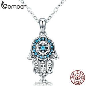 Bamoer Genuine 925 Sterling Silver Trendy Fatima's Guarding Hand Pendant Necklaces Women Fine Silver Jewelry Gift Scn264 Y19061703