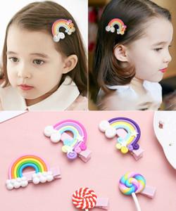 Lindo arco iris nube de lollipop forma de pelo clip para niñas Pelo Pelo Play Clip Horquillero Headwear Fashion Cumpleaños Regalo Will y Sandy New