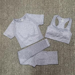 Fashion Designer Women Cotton Yoga Suit Gymshark Sportwear Tracksuits Fitness Sport three Piece set pant bra t-shirts Leggings soild color