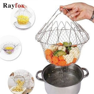Stainless Steel Kitchen Accessories Tools Foldable Fruit Vegetable Washing Basket Steam Fry Food Creative Kitchen Cooking Gadget