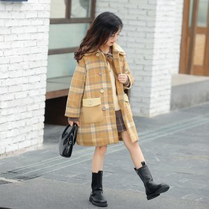 Girls' Coat Thickened Medium and Long Plaid Overcoat Kids Jackets for Girls Baby Girl Down Coat Little Girls Clothing