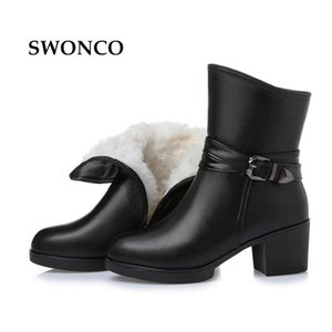 SWONCO Women's Black Ankle Boots 2020 Winter Genuine Leather Fur Wool Mother Shoes Women Boots Winter High Heels Mother Boot