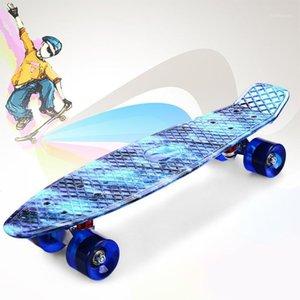 56cm Plastique Mini Cruiser Skateboard Petit planche à roulettes Single Banana Longboard Longboard Enfants adultes Devenez Warped Road Skate Board1
